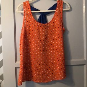Orange and Blue tank top with adorable bow detail!